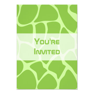 Giraffe Print Pattern. Safari Green. 5x7 Paper Invitation Card