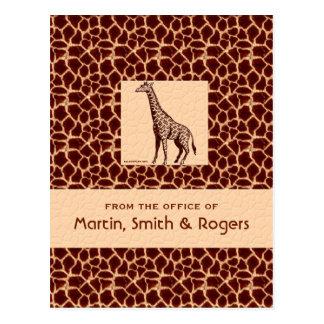 Giraffe Print Personalized Postcards