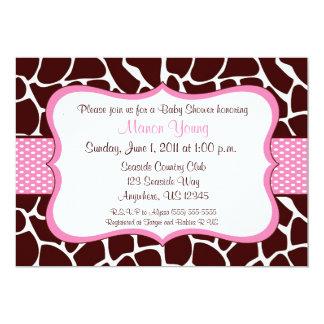 Giraffe Print Pink Baby Shower Invitation