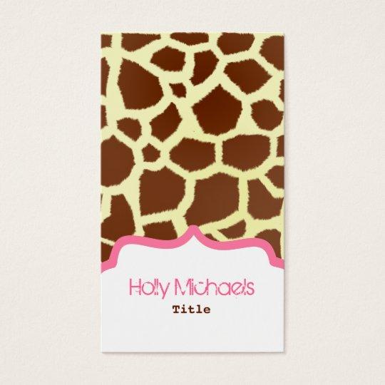 Giraffe Print & Pink Business Card