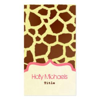 Giraffe Print Pink Business Card