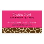 giraffe print pink mommy card business card
