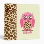 Giraffe Print & Pink Owl Personalized Binder