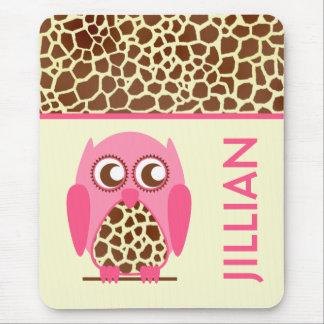 Giraffe Print Pink Owl Personalized Mousepad