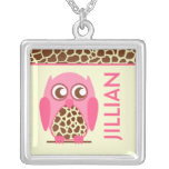 Giraffe Print & Pink Owl Personalized Necklace