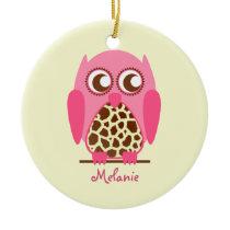 Giraffe Print & Pink Owl Personalized Ornament