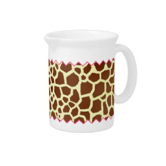 Giraffe Print & Pink Zig Zag Pitcher