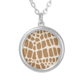 Giraffe Print Round Pendant Necklace