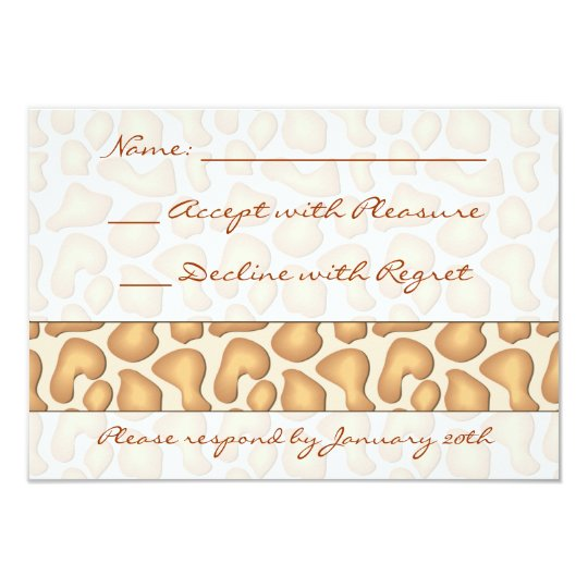 Giraffe Print RSVP Card