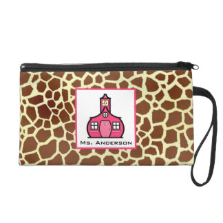 Giraffe Print & Schoolhouse Wristlet For Teachers