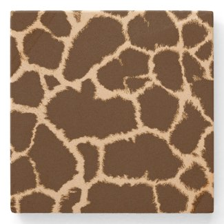 Giraffe Print Stone Beverage Coaster