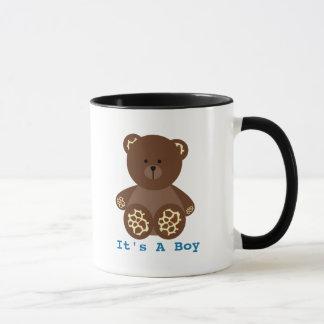 Giraffe Print Stuffed Bear Baby Shower It's A Boy Mug