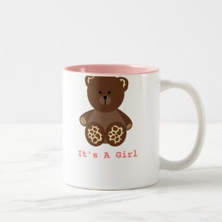 Giraffe Print Stuffed Bear Baby Shower It's A Girl Two-Tone Coffee Mug