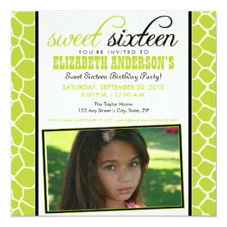 Giraffe Print Sweet 16 Party Invitation (lime)