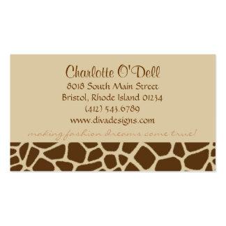 giraffe print tan business card