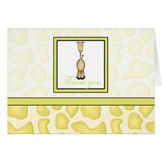 Giraffe Print Thank You - Yellow Greeting Card
