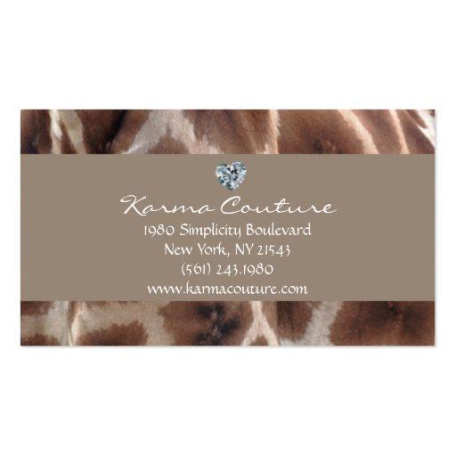 giraffe print w heart shaped diamond business card