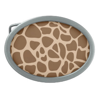 Giraffe Print Wild Animal Patterns Gifts for Her Oval Belt Buckles