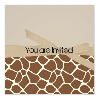 Giraffe Print with Bow Abstract Baby Shower Personalized Invite