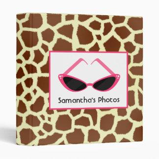 Giraffe Print With Retro Pink Sunglasses Vinyl Binder