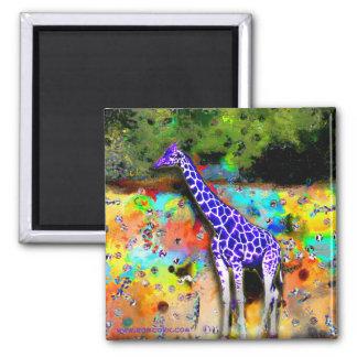 Giraffe Purple Psychedelic Magnet