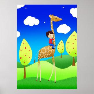 Giraffe Rider - poster print
