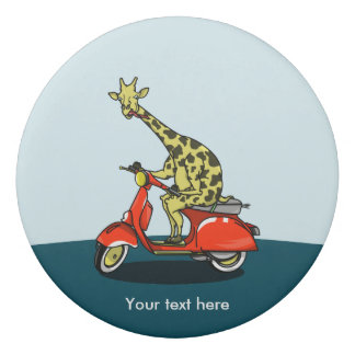 Giraffe riding a red moped eraser