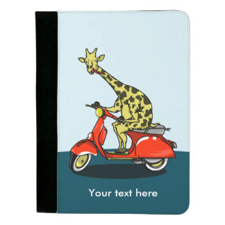 Giraffe riding a red moped padfolio