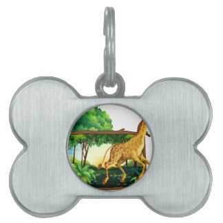 Giraffe running in the forest pet name tag
