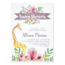 Giraffe Safari Floral Watercolor Baby Shower Invitation