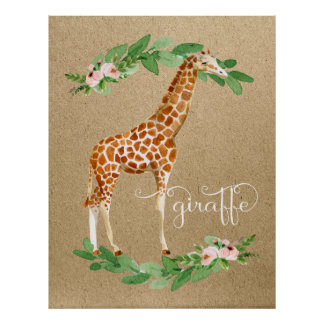 Giraffe Safari Pink Floral Girl's Nursery Art Poster