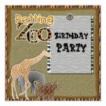 """giraffe Safari Zoo Birthday Party Invitation 5.25"""" Square Invitation Card"""
