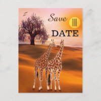 Giraffe Safari Zoo Save the Date Postcard