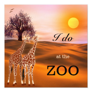 Giraffe Safari Zoo Wedding Invitation