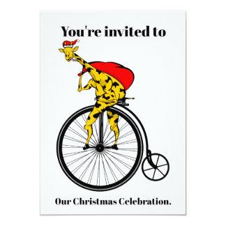 Giraffe Santa Claus Christmas Card