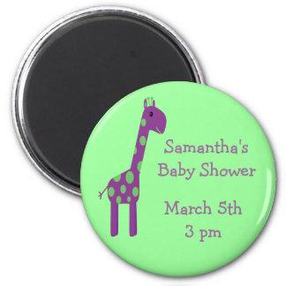 Giraffe Save The Date Baby Shower Green & Purple 2 Inch Round Magnet