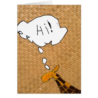 "Giraffe saying "" HI"" greeting card"