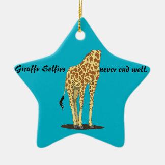 Giraffe Selfies Ceramic Ornament