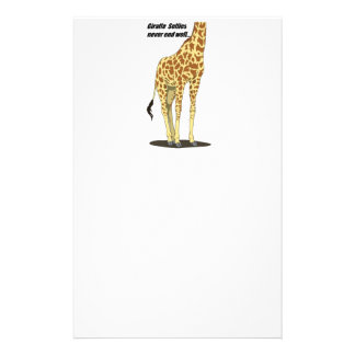Giraffe Selfies Never End Well Stationery
