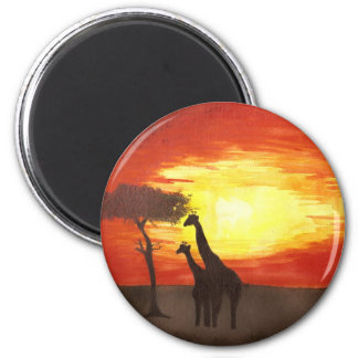 Giraffe Silhouette 2 Inch Round Magnet