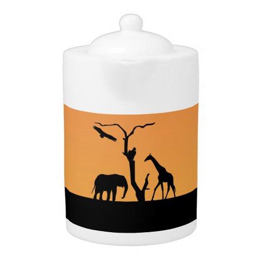 Giraffe silhouette african sunset teapot