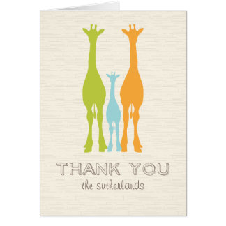 Giraffe Silhouette Baby/Family Thank You Note Card