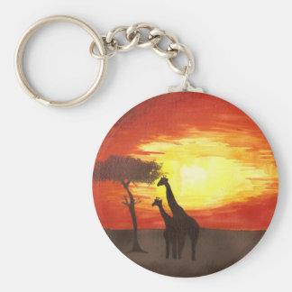 Giraffe Silhouette Basic Round Button Keychain