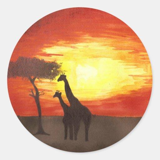 Giraffe Silhouette Classic Round Sticker