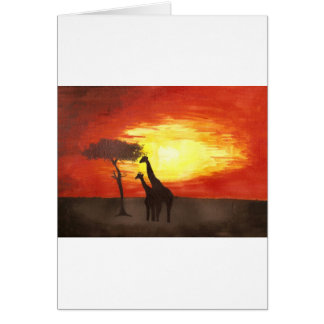 Giraffe Silhouette Greeting Card