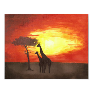 "Giraffe Silhouette 4.25"" X 5.5"" Invitation Card"