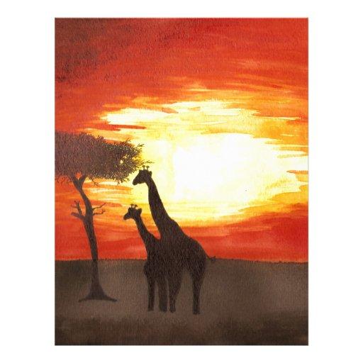 Giraffe Silhouette Custom Letterhead