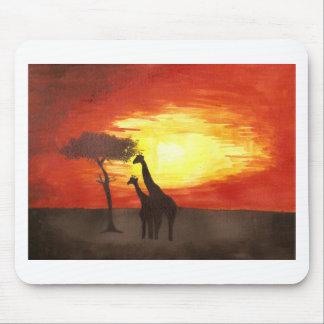 Giraffe Silhouette Mouse Pad