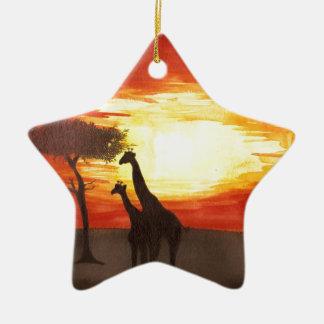 Giraffe Silhouette Double-Sided Star Ceramic Christmas Ornament
