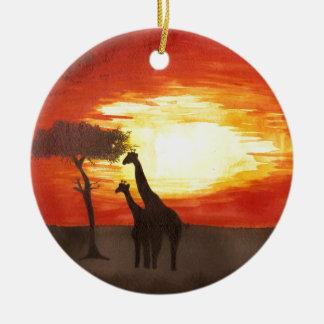 Giraffe Silhouette Double-Sided Ceramic Round Christmas Ornament